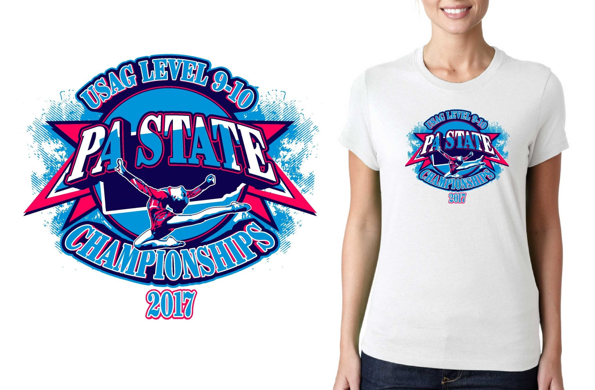 2017 Level 9 10 PA State Championships vector logo design for t-shirt gymnastics urartstudio.com