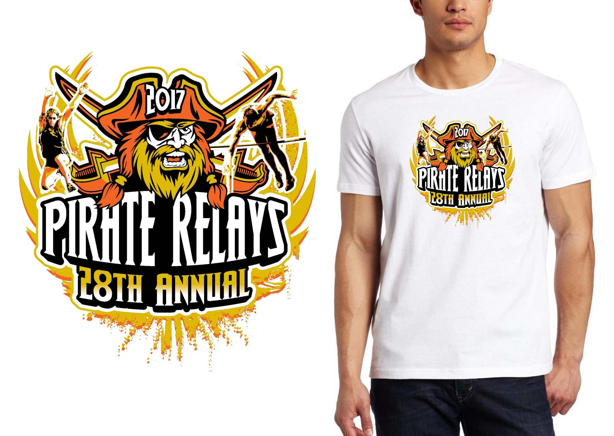 TRACK LOGO for 28th Annual Pirate Relays T-SHIRT UrArtStudio