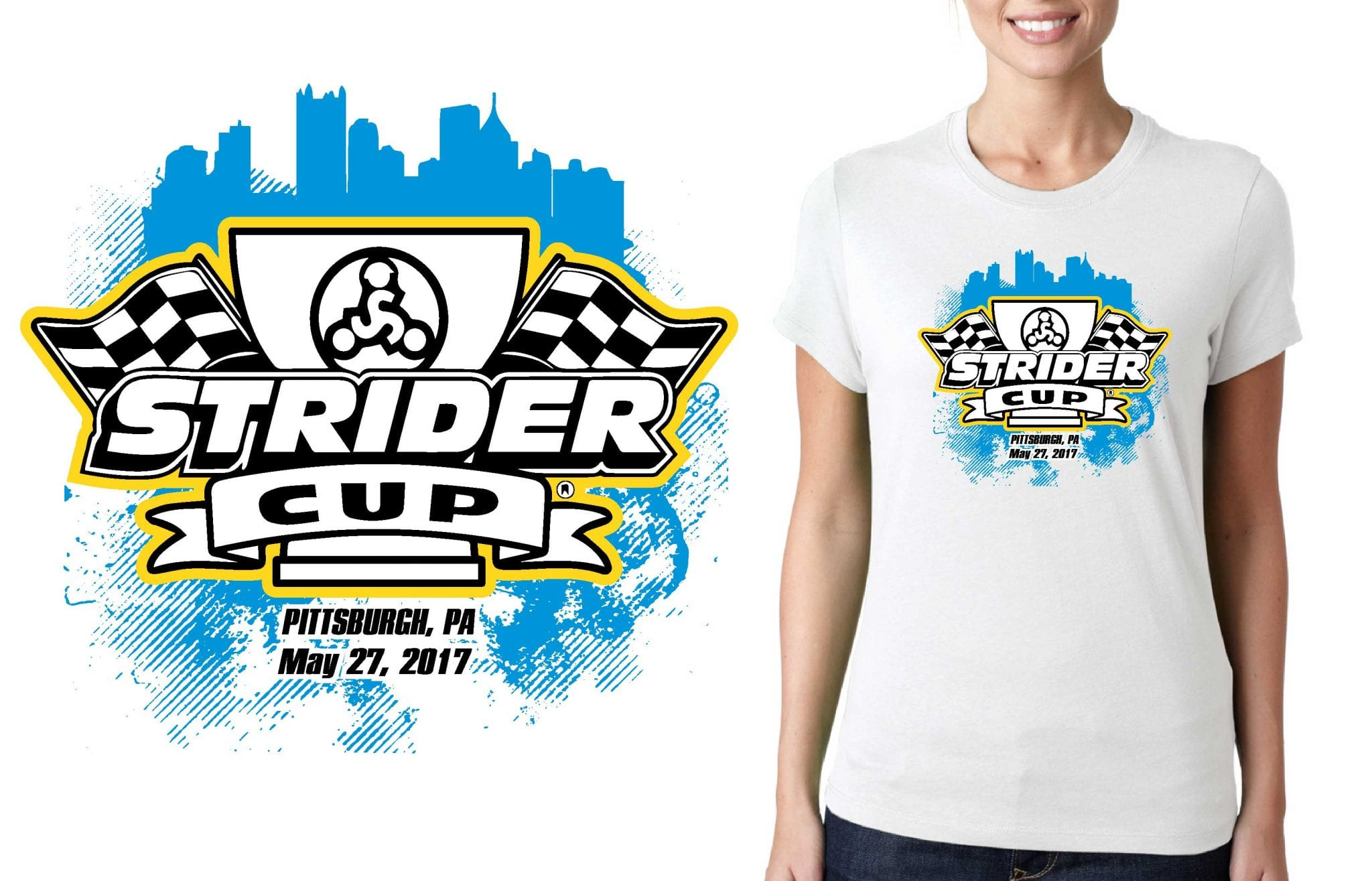 2017 Strider Cup Pittsburg PA logo design for cycling t-shirt UrArtStudio