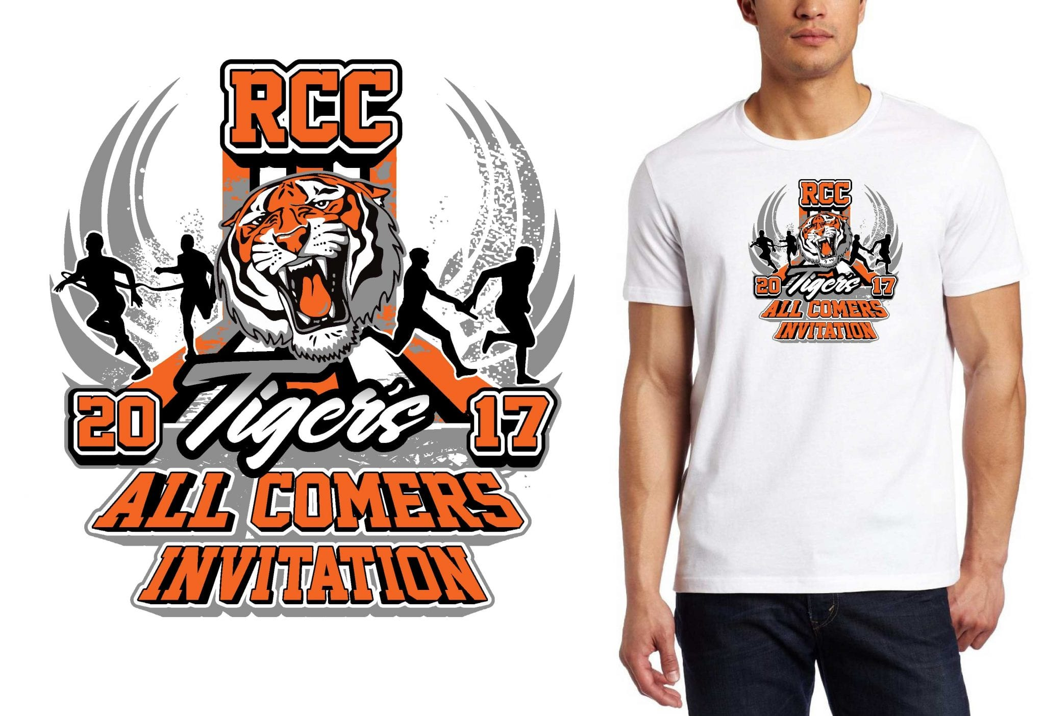 1 14 17 RCC Tiger Relays tshirt vector logo design for track and field