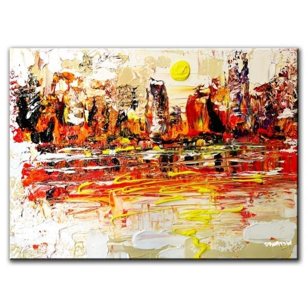 ON THE EDGE OF THE LAKE CITYSCAPE PAINTING