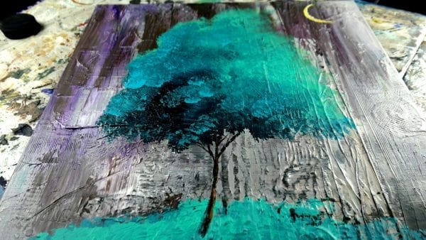 Original abstract painting of teal tree - PRAISE OF VIRTUE - by Dranitsin