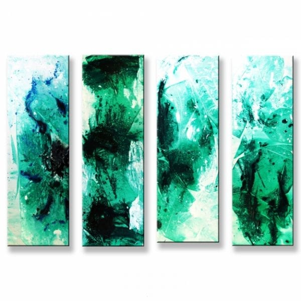 """Original large 48x36"""" acrylic modern abstract quadruplet painting - North Crystal - by Dranitsin"""