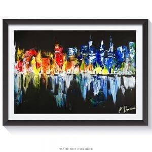 ORIGINAL ACRYLIC PAINTING OF A NIGHT TIME CITYSCAPE PAINTING BY PETER DRANITSIN