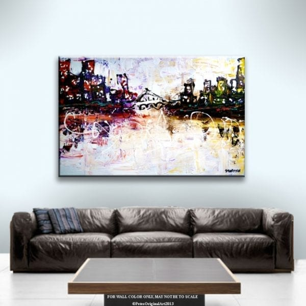 GLOBAL CITIES, ABSTRACT CITYSCAPE PAINTING BY PETER DRANITSIN
