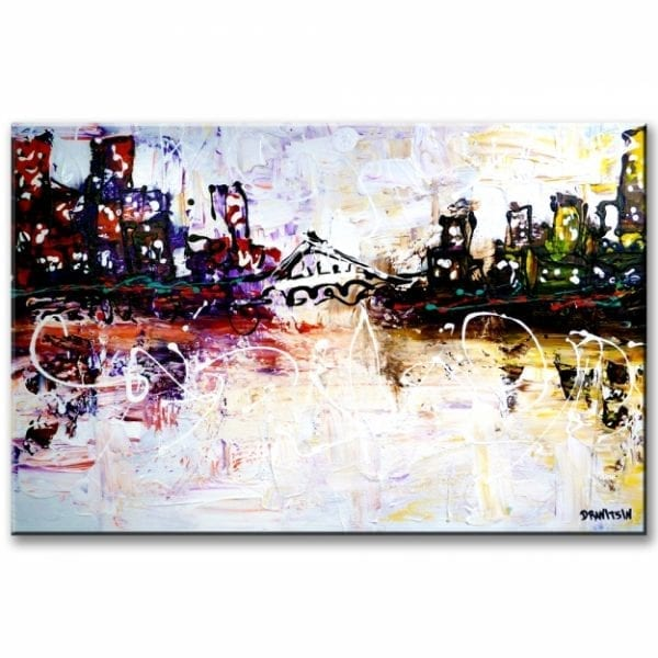 CITYSCAPE ABSTRACT PAINTING BY PETER DRANITSIN