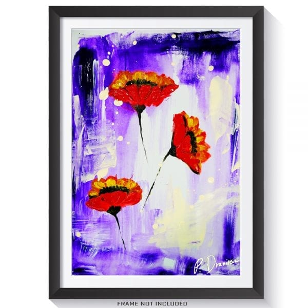 ORIGINAL PAINTING ABSTRACT RED FLOWERS ON PURPLE BACKGROUND, BY PETER DRANITSIN