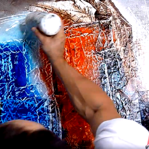 Painting abstract art with texture finish