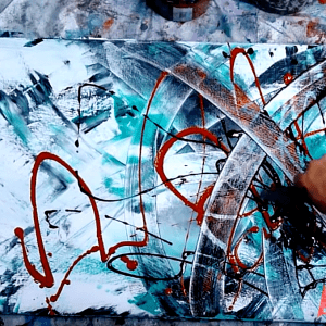 Painting abstract art with use of pallet knife