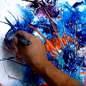 Painting abstract flowers
