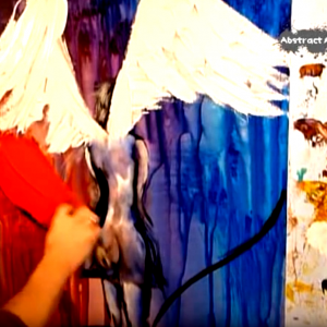 Painting angel and heart on abstract background