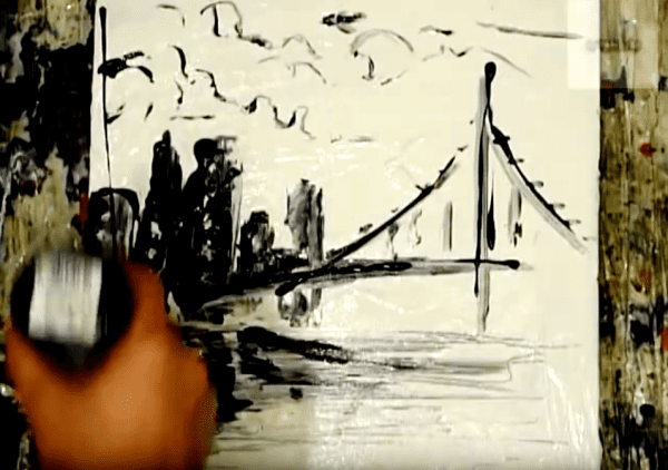 Painting black and white cityscape on small canvas
