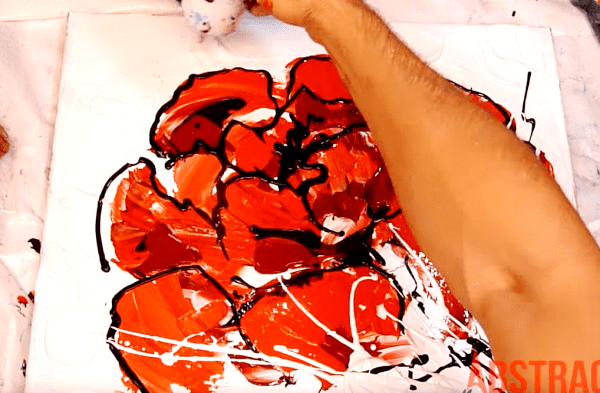 Painting red flower