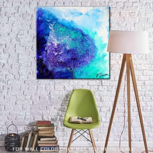 abstract painting Prophecy, teal tree on abstract background, by Peter Dranitsin