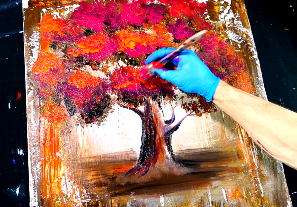 Abstract painting - magenta orange tree - wood grain tool and round brush techniques