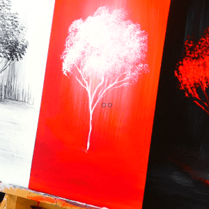 3 color channels landscape abstract painting techniques, painting - black, red, and white trees