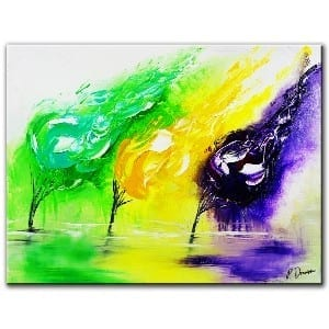 3 FLAMES ABSTRACT PAINTING OF 3 TREES