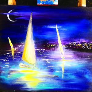 3 magical sailboats drifting at night and distant city lights in the background painting