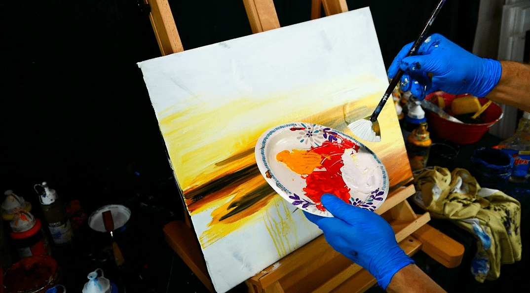 In this art video I will create beautiful fall season landscape painting. This landscape painting will be composed of yellow, red, orange autumn leaves on elegant trees, reflective lake and shorelines.