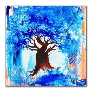 PAINTING OF A BLUE TREE WITH ABSTRACT BACKGROUND ON LARGE CANVAS