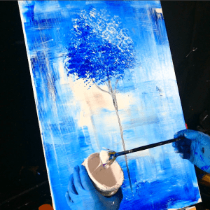 Blue tree abstract painting - round brush, grain painting tool