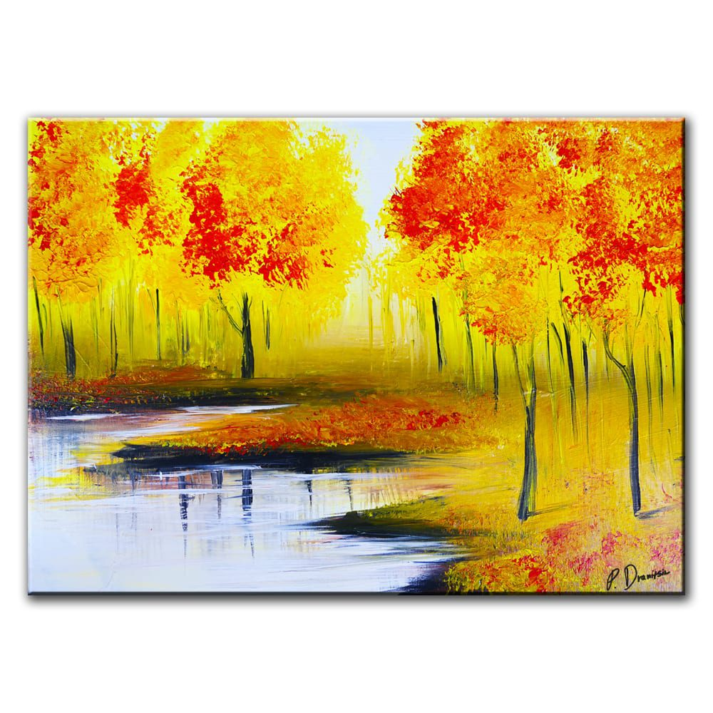 fall season landscape acrylic painting for sale by artist