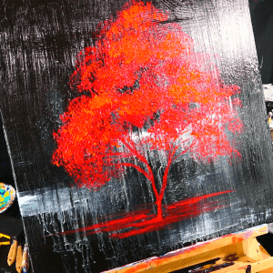 Painting red tree on black ice simple painting techniques (8)