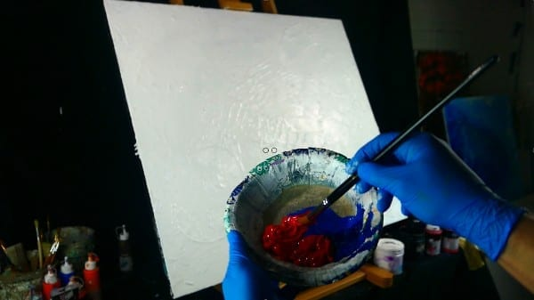 RED HOT 3D SPHERE ABSTRACT PAINTING - SPONGE, SPATULA, BRUSH