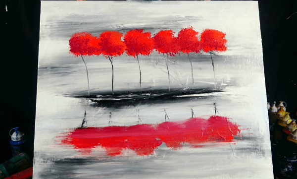 Red Island - abstract landscape painting - red elegant trees and beautiful reflection in water