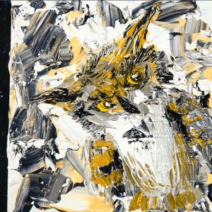 Easy painting of an owl for beginners - pallet knife, acrylic paint, small canvas