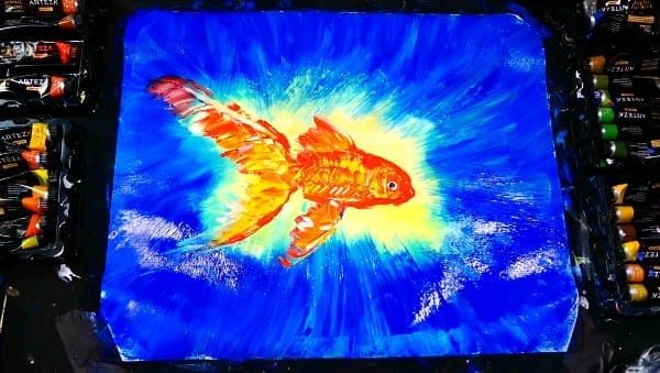 Easy step by step painting of a GOLD FISH for beginners with acrylic painT, fan brush and pallet knife
