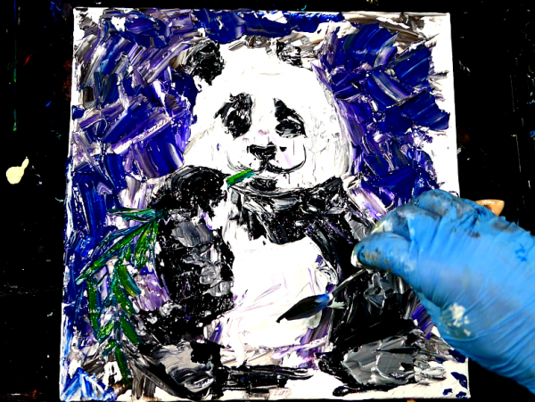 Easy_step_by_step_painting_-_panda_-_acrylic_paint_and_pallet_knife_on_small_canvas_-_great_for_beginners