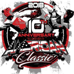 MARTIAL ARTS 10TH ANNIVERSARY AMERICAN CLASSIC 2018 T-shirt vector logo design for print