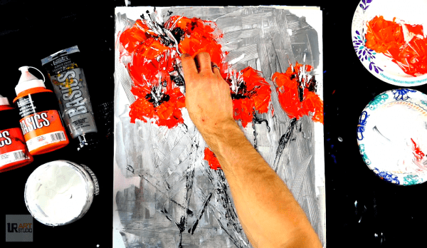 Quick painting - red flowers on silver abstract background