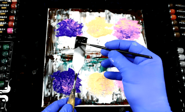 Simple step by step abstract painting 3 trees pallet knife for beginners