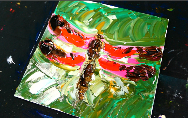 Simple step by step painting of a DRAGONFLY for beginners with acrylic painT and pallet knife