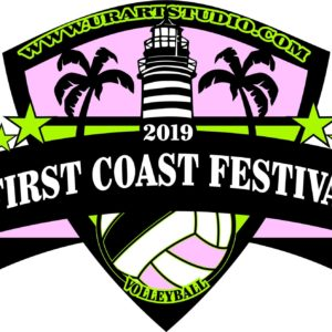 VOLLEYBALL FIRST COAST FESTIVAL 2019 T-shirt vector logo design for print