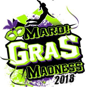 VOLLEYBALL MARDI GRAS MADNESS t-shirt vector logo design for print