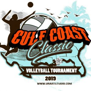 VOLLEYBALL TOURNAMENT GULF COAST CLASSIC 2019 T-shirt vector logo design for print