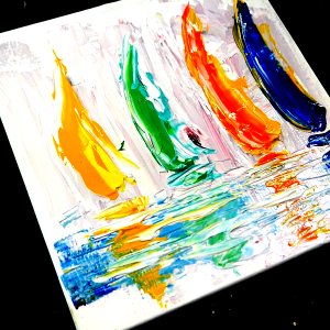 Easy acrylic abstract painting techniques for beginners - 4 sailboats - pallet knife on small canvas