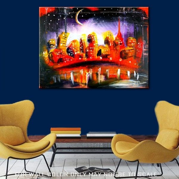 Orange City - abstract painting by Peter Dranitsin