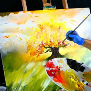 Painting flaming tree, fire birds, acrylic paint, round brush, on large canvas