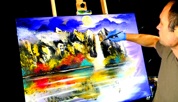 Painting magical moon, purple sky, mountains and a waterfall with acrylic paint