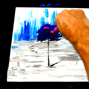 Simple painting blue tree, acrylic paint, pallet knife, round brush, fan brush (3)