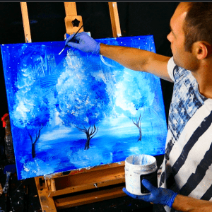 Step by step abstract landscape painting 3 blue trees, acrylic paint, round brush