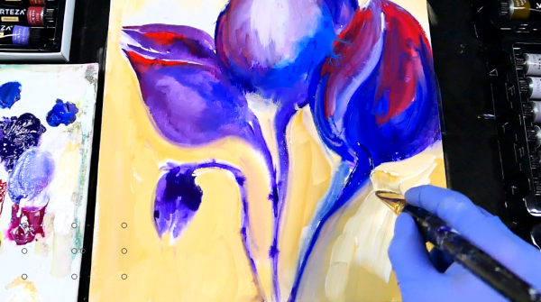 Step by step painting with watercolors - purple flowers