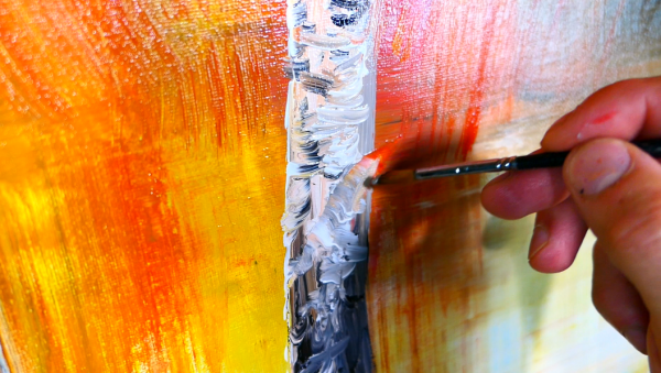 Bright sunshine reflection in water and elegant birch tree acrylic step by step painting demo for beginners