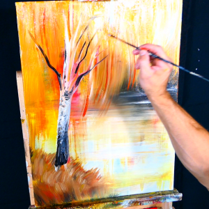 Bright sunshine reflection in water and elegant birch tree acrylic step by step painting demo for beginners (6)