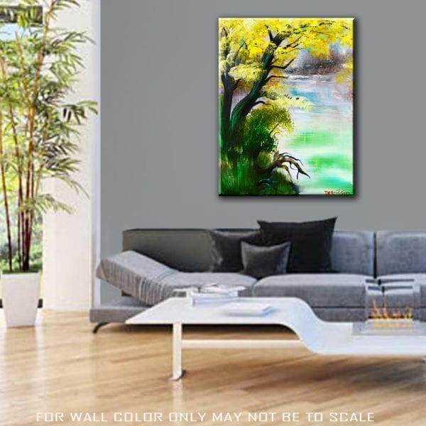Painting deep forest acrylic paint on canvas