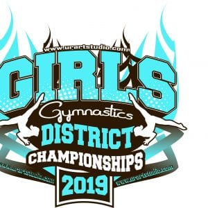 GIRLS GYMNASTICS DISTRICT CHAMPIONSHIPS customizable T-shirt vector logo design for print 2019